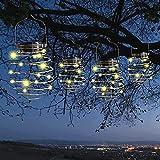 4 Stück Solar-Spirallichter, LED-Solar-Gartenlichter, kreative Eisenkunst, Dekorative Hängelaternen für Garten, Terrasse, Veranda, Weg, Hof