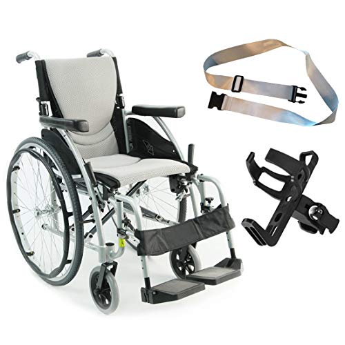 Karman S-Ergo 115 Ultra Lightweight Ergonomic Wheelchair | Seat Size 20' X 17' | Fixed Wheels in Silver and Free Silver Wheelchair Seatbelt & Black Bottle Holder!