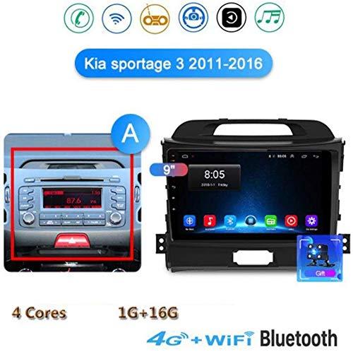 GLFDYC Android 8.1 GPS Navigation Stereo Radio, para Kia Sportage 3 4 2011-2016, 9' Pantalla Táctil Completa Reproductor Multimedia, Enlace Espejo Control Volante Bluetooth Hands-Free,4G+WIFI1G+16G-A
