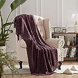 NexHome Throw Blanket for Bed Purple Decorative Knit Blanket with Tassel Soft Lightweight Zigzag Textured Boho Throws (50'x60' Dark Purple)