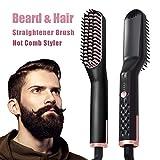 Plancha Pelo, Peine Barba y Rizador de Pelo Beard Straightener, Multifuncional Rápido, Al Calor Para Lograr un Cabello Sin Frizz y Sedoso, Auto-Apagado,Temperatura de Bloqueo Automático
