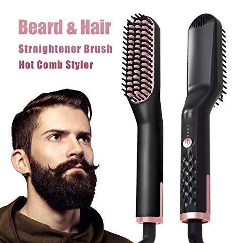 Plancha Pelo, Peine Barba y Rizador de Pelo Beard Straightener, Multif