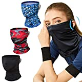 TOOVREN Face Mask Bandana Breathable Neck Gaiter with Ear Loops Face Scarf Mask for Men Kids Balaclava Bandana Headband for Women Cooling Neck Gaiter UV Face Shield 3 Pack