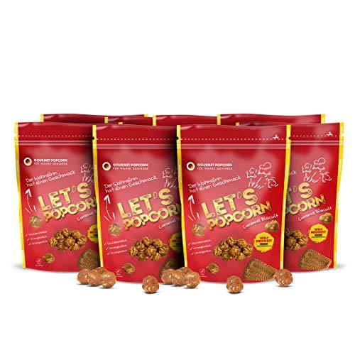 Popcorn Gourmet Süßigkeit 4 leckere Geschmacksrichtungen für wahre Nascher Let's Popcorn Weltneuheit (Caramel Biscuit, 8er Set)