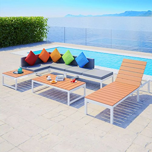 Furnituredeals canapé d'angle de jardin et chaise longue 20 PZ aluminium WPC.Ce lot de haute qualité sont robuste et résistant.Idéal pour jardins et extérieur