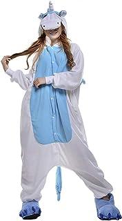 Fantasia Pijama Cosplay de Unicórnio com Asas Azul e Capuz Original