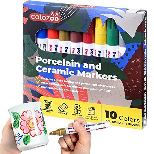 colozoo Porzellanstifte Spülmaschinenfest | 10 leuchtende Farben | Keramik Stifte inklusive Gold & Silber | Ungiftige und Vegane Farben für Kinder ab 3 Jahren