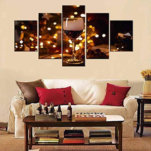 HOMEDCR Impresión en Lienzo Murales Fotos de Copas de Vino Tinto Pinturas de luz Dorada Lienzo Arte de la Pared 5 Paneles de Calidad Decoración para el hogar Carteles e Impresiones para la Sala