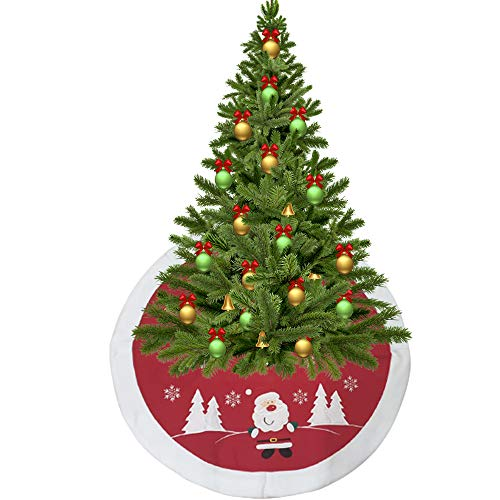 SEASONS Christmas Tree Base Cover Skirt 87cm Plush Santa Cover Apron, Red christmas tree skirt, christmas tree apron, xmas tree skirt