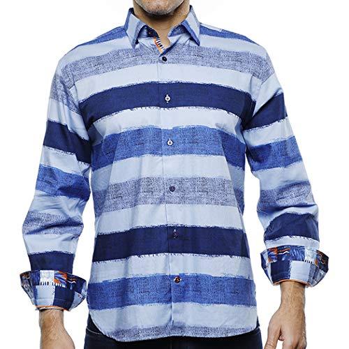 Luchiano Visconti (42105 - Multi Blue Horizontal Striped Shirt (XXL)