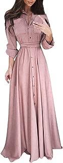 Womens Lapel Maxi Long Dress Casual Fashion Long Sleeve Solid Shirt Dress
