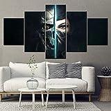 Impresiones HD Ilustraciones 5 Paneles Lona Pinturas Dishonored 2 Juego Niña de la Máscara Mural Sala Casa Decoración Papel Pintado Imágenes Carteles,B,25x40x2+25x60x1+25x50x2