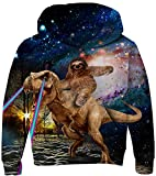 Kids Cute Sloth and Dinosaur 3D Sweater Comfortable Long Sleeve Sweatshirt Novelty Galaxy Pattern Hoodies Cool Fall Daily Tops Wear Colorful with Big Pockets for 11-14 Years