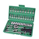 HUXIZ - Juego de herramientas de reparación de automóviles, 46 piezas, 1/4', juego de herramientas de reparación de carraca, llave dinamométrica, kit de herramientas de reparación automática