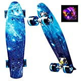 ANCHEER Skateboards Monopatín 56 cm/22 Inch Mini Cruiser - Patineta con 4 LED Luces PU Ruedas...