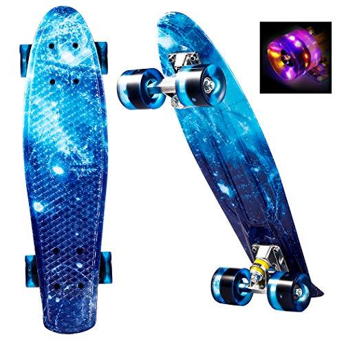 ANCHEER Skateboards Skateboards Mini-Skateboard, 56 cm, mit 4 LEDs, PU-Leuchten, Retro-Design für Kinder, Jugendliche, Anfänger, maximale Belastung 100 kg (Indigo)