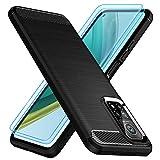 TesRank Coque pour Xiaomi Mi 10T/10T Pro Coque + Lot de 2 Verre Trempé, [Fibre de Carbone] Housse Souple Flexible en Premium TPU étui pour Mi 10T Pro, Anti-Rayures/Absorption des Chocs-Noir