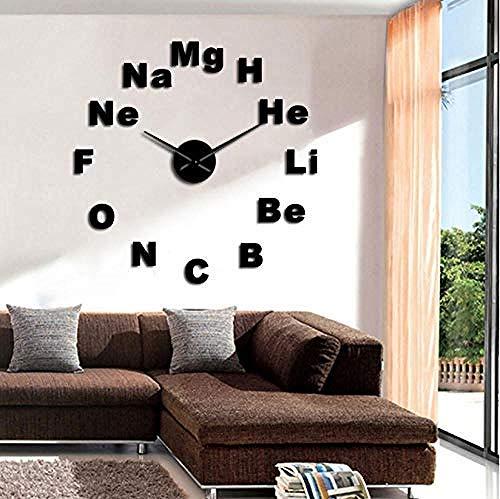 DFRTY Acryl Wanduhr Element Periodensystem DIY Wanduhr Riese Chemie Spiegel Aufkleber Rahmenlos groß Wanduhr Klassenzimmer Dekoration Kunst