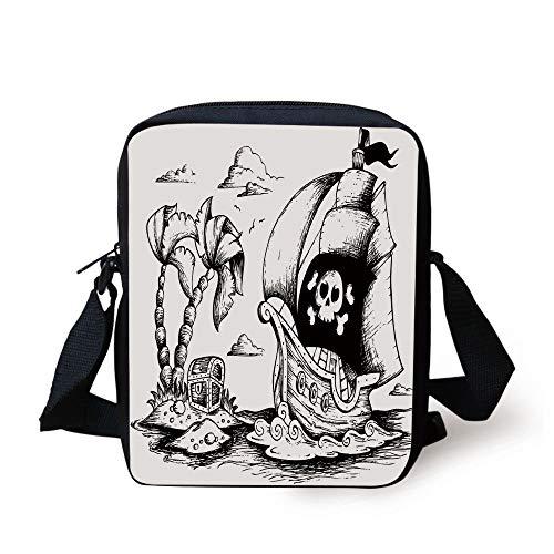 Pirate,Drawing of Palm Trees and Sailboat Danger Sign Flag Antique Vessel Treasure Island Decorative,Black White Print Kids Crossbody Messenger Bag Purse