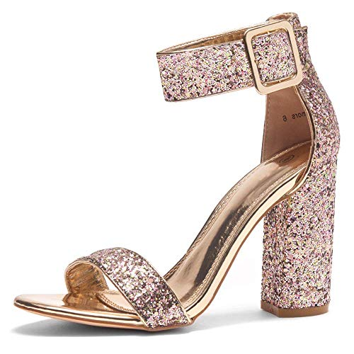 HerStyle Rumors Women's Fashion Chunky Heel Sandal Open Toe Wedding Pumps with Buckle Ankle Strap Evening Party Shoes GoldGlitter 8.0