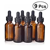 Frcolor Glasflaschen für ätherische Öle, 9 Packung 30 ml Bernsteinflasche mit Tropfer und Deckel