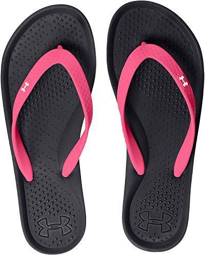 Under Armour Girls' Atlantic Dune Flip-Flop, Black (006)/Cerise, 4
