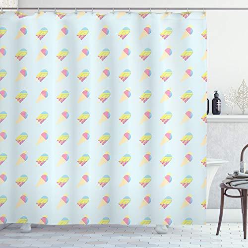 ABAKUHAUS EIS Duschvorhang, Pastell Hipster Sommer, mit 12 Ringe Set Wasserdicht Stielvoll Modern Farbfest & Schimmel Resistent, 175x240 cm, Mehrfarbig