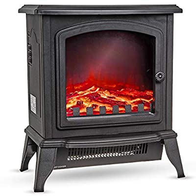 LIVIVO New Log Effect Electric Stove Fire, 2000W, Independent Light and Heat Controls, Automatic Safety Cut-Out (Compact)