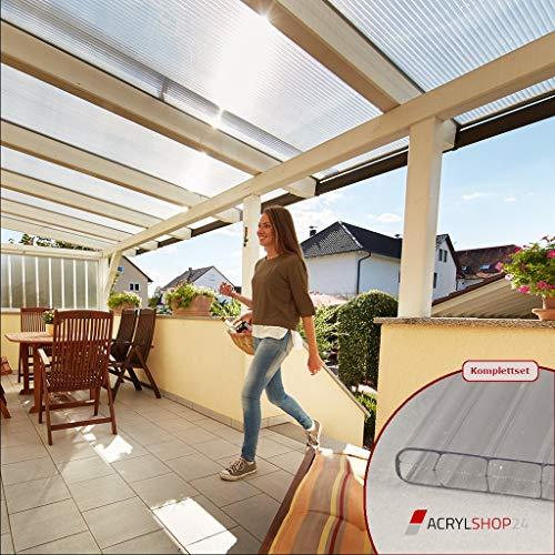 Acrylshop24 Terrassendach Terrassenüberdachung Carport Komplettset Polycarbonat 16mm 3-Fach Stegplatten farblos klar 16mm Stegplatten Tiefe:3000mm|Breite:5110mm - Mehrere Maße verfügbar
