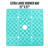 SlipX Solutions Extra Large Square Shower Mat Provides 65% More Coverage & Non-Slip Traction (27' Sides, 100...