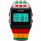 Mix & RockブラックレッドスポーツカラフルAssemble Brick LegoスタイルLEDデジタルBoy腕時計