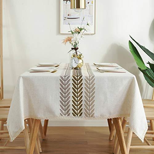 YOUYUANF mantelesMantel Rectangular, Mantel de algodón y Lino antiincrustante e Impermeable, Mantel Resistente al Aceite y lavable135 x 135cm
