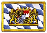 Aufnäher Patch Flagge Deutschland Bayern mit Löwe - 8 x 6 cm