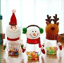 Miss.AJ set of 3 Christmas Candy Jar Plush & Plastic Santa Claus Snowman Elk Bear Cute Sugar Box Piggy Bank Coin Container...