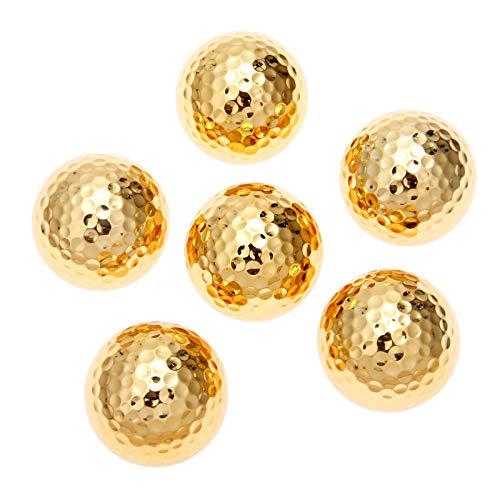 MUXSAM Paquete de 6 pelotas de golf metálicas de alta visibilidad, color dorado, 42,67 mm, goma sintética
