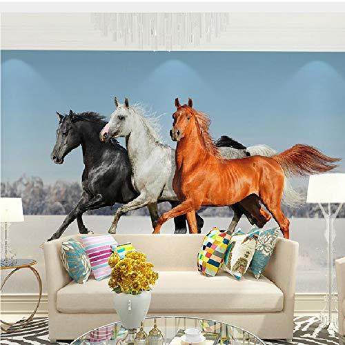 Lifme Fototapete mit Pferdemotiv, modern, 3D, für Wohnzimmer, Schlafzimmer, Heimdekoration, selbstklebend, Vinyl/Seide