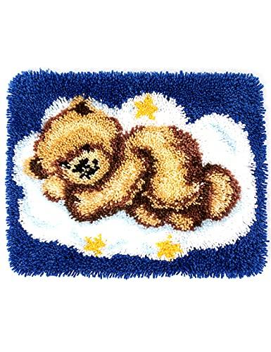 Creatividad y diversión DIY niños / alfombra para adultos kit de hilados de crochet de dibujos animados oso de dormir lana sofá sofá cojín estilo moderno tejido de dibujos animados circular patrón de
