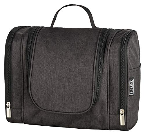 B.PRIME Kulturbeutel Classic XL Schwarz – Premium Kulturtasche mit extra viel Stauraum zum Aufhängen – Maße der Waschtasche 28x13x22cm