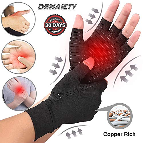 DRNAIETY Copper Arthritis Compression Gloves for Men and Women, High Copper Infused Compression Gloves, Pain Relief and Healing for Arthritis, Carpal Tunnel, Typing and Daily Work (Medium)