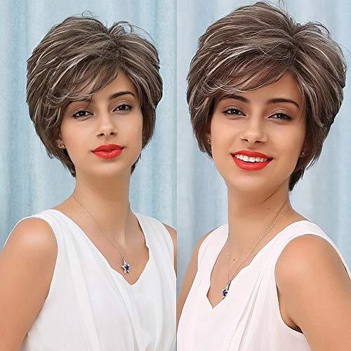 MFB Pixie cut Short Natural Wig Black mixed blonde Side Part Wigs for Women 12 Inch Mature Synthetic Hair Replacement Full Wigs Daily Use Iced Mocha R