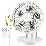 Ventilador USB, mini ventilador eléctrico silencioso, ventilador de escritorio alimentado baterías recargables, ventilador de escritorio pequeño de alta velocidad para exteriores, viajes, campamentos