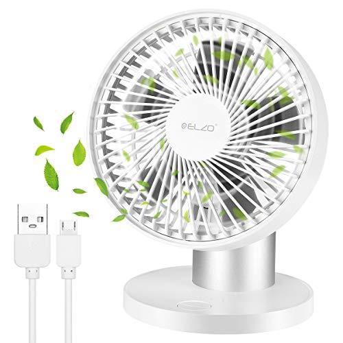 ELZO Ventilatore da Tavolo Oscillante, Mini Ventole di Raffreddamento Personali 2600mA Batteria Ricaricabile& USB Alimentato, 70° Oscillazione, Ventilatore Portatile per...