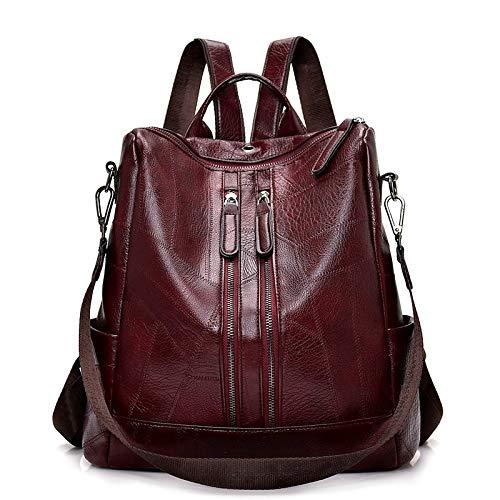 SFBBBO backpack Vintage Backpack Youth Leather Backpacks For Teenage School Shoulder Bag Bagpack About32cm15cm35cm Burgundy