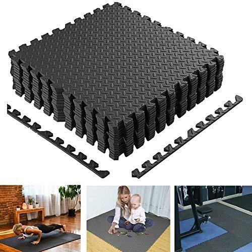 BAKAJI Tappeto Puzzle Tappetino Multiuso Fitness Palestra Gioco Bambini in Schiuma Eva Dimensione 60x60cm Colore Nero (16 pz)
