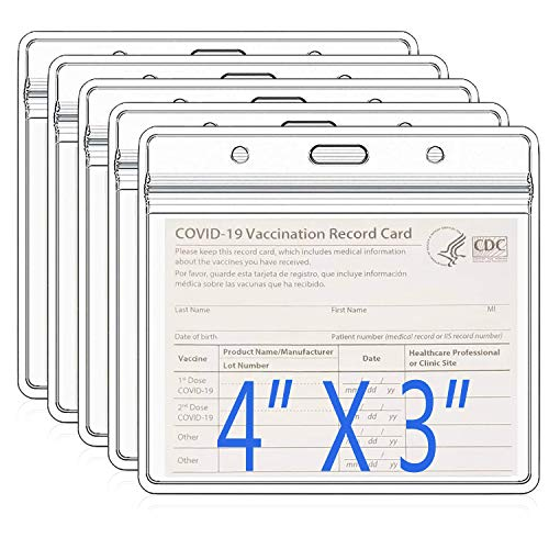 5 Pack - Clear Vaccine Card Protector 4 x 3 Inches,Waterproof Immunization Record Vaccine Horizontal I'D Card Name Tag Badge Card Holder,plastic card sleeves with Dual-Purpose Hanging Slot/Hole design