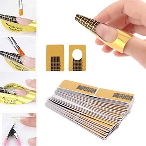 Ealicere 220 hojas oro Bandeja de papel de manicura: Necesario para la extensión de uñas Plantilla de bandeja de papel de Moldes Guías Pegatinas Formas UV Gel