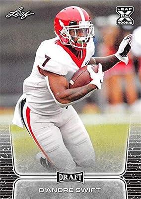 D'Andre Swift Football Card (Georgia Bulldogs, Detroit Lions) 2020 Leaf Draft #10 Rookie RC