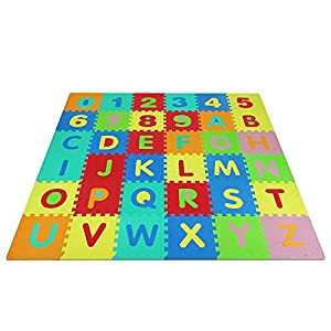 Yes4All Foam Puzzle Play Mat for Kids - Baby Floor Mats/Kids Play Mats - 36 Tiles with Edges, Alphabet & Numbers