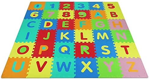 Yes4All Foam Puzzle Play Mat for Kids Baby Floor Mats Kids Play Mats 36 Tiles with Edges Alphabet product image