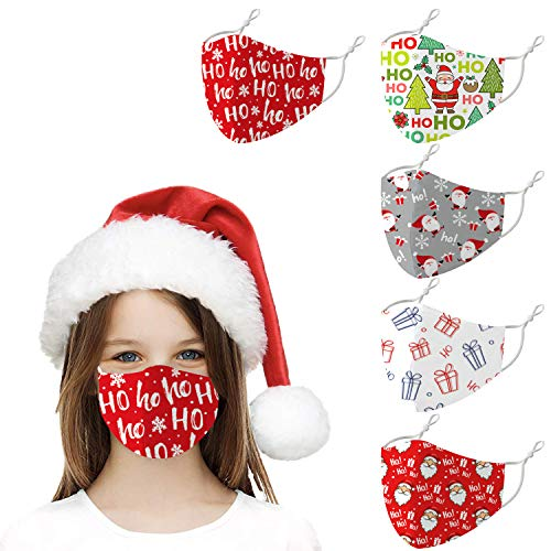 Washable Reusable Christmas Cloth Face Cover Decoration, Cute Breathable Cotton Fabric Mask for Kids (B-5Pcs)